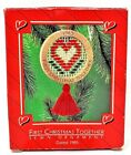 RARE 1985 NEW HALLMARK FIRST CHRISTMAS TOGETHER SEWN HEART ORNAMENT - GORGEOUS