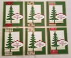 Lot of 6 Merry Christmas cards with tree made w Stampin Up supplies Free Ship