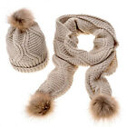 Fashion Women Knitted Autumn Winter Warm Twisty Pompom Hat + Long Scarf Beige