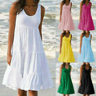 Summer Women Bohemian Holiday Solid Sleeveless Party Beach Casual Daily Dresses