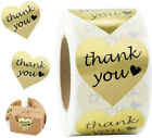 500 Roll Gold Foil Heart Shaped Thank you Stickers Envelope Seal Wedding Gift US