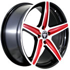 4 15x7 Black Red Wheel White Diamond W253 5x100 5x45 35