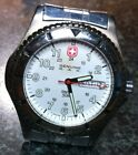 WENGER SWISS ARMY WATCH QUARTZ DATE WHITE MILITARY DIAL, SS DEPLOYMENT BAND