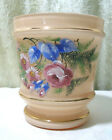 VTG Bristol Glass Vase Flower Pot Hand Painted Roses  Flowers Czechoslovakia