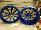 PM Performance Machine Custom Wheels Harley Chopper 18x8.5 3.5x18 Softail Blue