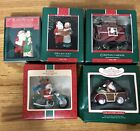 5- 80's Hallmark Christmas Ornaments Mr and Mrs Santa Clause Joy Ride Caboose