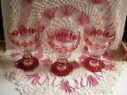 3 STEMS Kings Crown Ruby Red Thumbprint Indiana Glass Cranberry Vtg