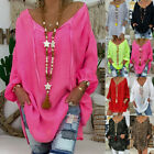 Women Casual Loose Plus Size Long Sleeve V neck Pullover Tops Shirt Tunic Blouse