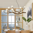 Contemporary Adjustable Wood Branching Chandelier Glass Globe LED Hanging Lamp