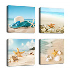 Blue Picture Artwork Turquoise Canvas Wall Art Drift Bottle Shell Starfish New