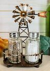 65H Rustic Country Farm Windmill Outpost Salt And Pepper Shakers Display Set