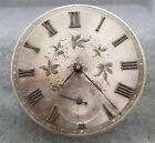 Silver dial pocket watch movement, signed Stauffer, 39mm, balance ok, for repair