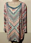 RUBY RED WOMENS SIZE 1X TOP MULTI ABSTRACT PRINT EMBELISHED BEADED NECKLINE