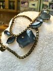 Loren Hope Necklace Deep Sapphire Blue Faceted Glass Jewels Antiqued Brass Chain