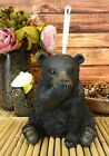 Rustic Whimsical Black Bear Covering Nose Toilet Brush And Holder Figurine Set