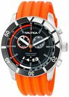 Nautica Black Chronograph Dial Mens Watch Orange Rubber Strap Steel Case N17586G
