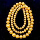 Vintage 60s Baltic Amber Necklace 51 gm Graduated Round Butterscotch Amber Beads