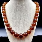 Vintage Baltic Dark Honey Amber Round Beads Necklace 70 gm Russian Amber Jewelry