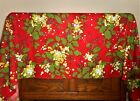 Colorful Holly Mistletoe Print Vintage Cotton Christmas Tablecloth Rectangle Red