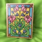 ALL NIGHT MEDIA Stained Glass Lillies 288J Wood Rubber Stamp 1995