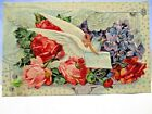 1910 POSTCARD BEST WISHES DOVE AMONG ROSES AND VIOLETS