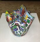 MCM Murano Millefiori Handkerchief Multi Colored Glass Vase Eames Era