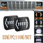Black 5X7 7x6 LED Headlight For 1986-1995 Jeep Wrangler YJ 1984-2001 Cherokee XJ