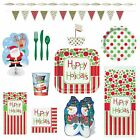 Christmas Holiday Party Supplies Happy Holidays 125 Piece Set for 8 Guests