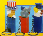 Lot of 3 Vintage PEZ Candy Keychains | Uncle Sam | Clown | Elephant 1998 - New