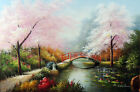 Japanese Cherry Blossom Trees Lily Pond 24X36 Oil Painting By Hand Stretched