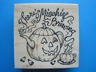 THEREs MISCHIEF BREWING PSX Rubber Stamp HALLOWEEN Teapot Teacup Candy Corn