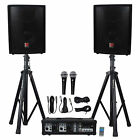 Rockville RPG2X10 PA System w Mixer Amp+10 Speakers+Stands+2 Mics+Bluetooth