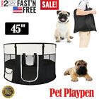 45 Pet Dog Kennel Fence Puppy Playpen Exercise Pen Portable Folding Crate Black