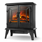 20 Infrared Quartz Electric Fireplace Heater 1400W 2 Drs Stove Realistic Flame