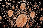 Antique Embroidered Peach Orange on Black Silk Huge Piano Shawl Manton Flamenco