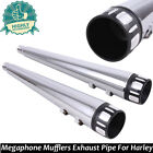 Fits Harley Touring Bagger Megaphone Slip On Mufflers Exhaust Pipes 95 16 Chrome