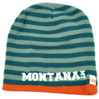 Montana State Knit Beanie Scrum Striped Cuffless Gray Hat Winter Blue Orange USA