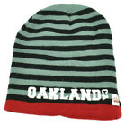 Oakland Knit Beanie Scrum Striped Cuffless Gray Hat Winter California Black Red