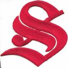 3 Fancy Red Old English Alphabet Letter S Embroidered Patch