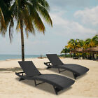 Adjustable Pool Chaise Lounge Chair Outdoor Patio Furniture PE Wicker W Cushion