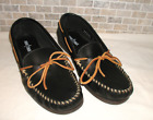 Mens Size 13 MINNETONKA 749W Camp Moccasins Black Leather Boat Deck Shoes