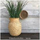 Vintage Wicker Rattan Woven Planter Vase Floor Vase Display Retro Boho DECOR