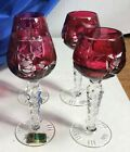 4 LAUSITZER GERMAN RED PINK CRANBERRY CUT GLASS CORDIALS GLASSES GLASS