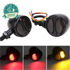 Motorcycle Turn Signal Lights 10mm Dual Amber Red Brake Running For Harley Honda