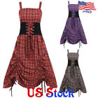 Women Gothic Punk Plaid Sleeveless Dress Boat Neck Belted Waist Tunic Skirt Gown