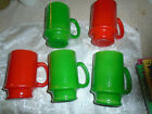 5 Milk Glass Coffee Pebbled Mugs Cups Vintage 4 inches tall-green and red/retro