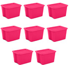 18 Gallon Plastic Stackable Storage Container Tote Box Bin With Lids Set of 8