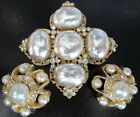 Beautiful Baroque Style Glass Pearl Vintage Pin  Earring Married Set