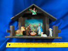Antique VTG Nativity Scene Set Gloria Wood Plastic Celluloid Baby Jesus Xmas