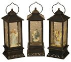 B O Lighted Nativity and Angel Spinning Water Snow Globe Lantern w Timer Set